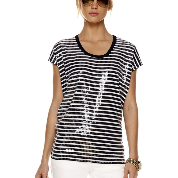 e555c1cfb8f7 Michael Michael Kors striped sequin top Sz M. M_5aa34e2ba825a66df3a44fd3